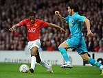 Manchester United's Patrice Evra and Gianluca Zambrotta of Barcelona during the Champions League semi-final 2nd leg match at Old Trafford, Manchester. Picture date 29th April 2008. Picture credit should read: Simon Bellis/Sportimage