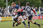 Leinster A lock Tom Denton tries to beat Pontypridd pair Rhys Shellard and Joel Raikes.<br /> British & Irish Cup Semi Final<br /> Pontypridd v Leinster A<br /> Sardis Road - Pontypridd<br /> <br /> ©Steve Pope-SPORTINGWALES