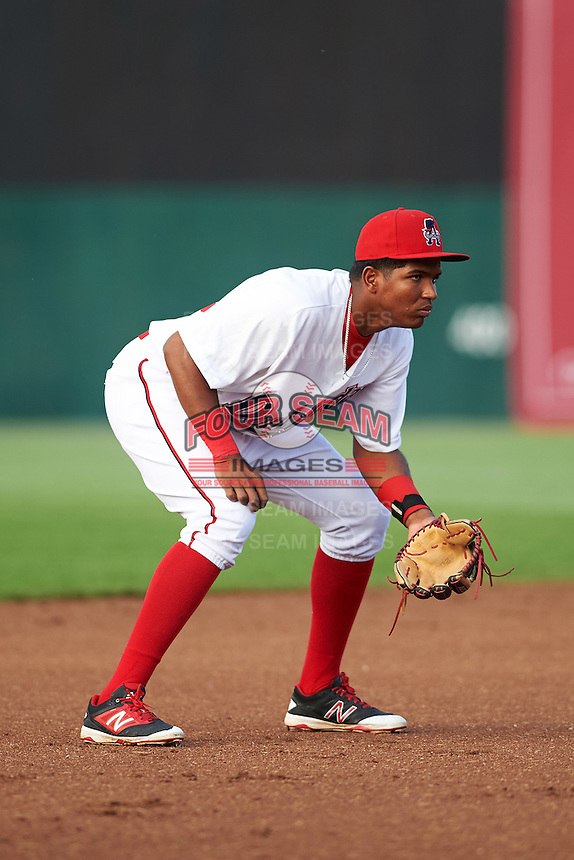 Auburn Doubledays third baseman Kelvin Gutierrez (36) during a game against the Vermont Lake Monsters on July 12, 2016 at Falcon Park in Auburn, New York.  Auburn defeated Vermont 3-1.  (Mike Janes/Four Seam Images)