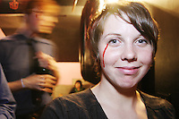 Sarah Neufeld of the band Arcade Fire backstage at the Knitting Factory in New York City on April 12, 2004.