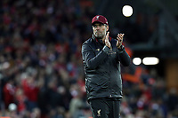 Liverpool manager Jurgen Klopp applauds the fans at the final whistle<br /> <br /> Photographer Rich Linley/CameraSport<br /> <br /> The Premier League - Liverpool v Manchester City - Sunday 7th October 2018 - Anfield - Liverpool<br /> <br /> World Copyright &copy; 2018 CameraSport. All rights reserved. 43 Linden Ave. Countesthorpe. Leicester. England. LE8 5PG - Tel: +44 (0) 116 277 4147 - admin@camerasport.com - www.camerasport.com