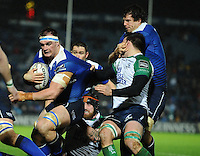 01/01/2016;Guinness PRO12 Round 11 - Leinster v Conacht, RDS, Dublin.<br /> Leinster's Rhys Ruddock and Mike McCarthy with Jake Heenan of Connacht.<br /> Photo Credit: actionshots.ie/Tommy Grealy