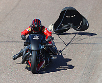 Feb 25, 2018; Chandler, AZ, USA; NHRA nitro harley rider Doug Vancil during the Arizona Nationals at Wild Horse Pass Motorsports Park. Mandatory Credit: Mark J. Rebilas-USA TODAY Sports