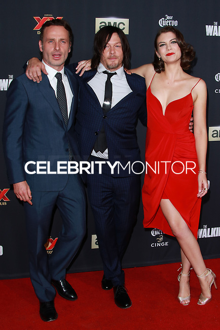 UNIVERSAL CITY, CA, USA - OCTOBER 02: Andrew Lincoln, Norman Reedus, and Lauren Cohan  arrive at the Los Angeles Premiere Of AMC's 'The Walking Dead' Season 5 held at AMC Universal City Walk on October 2, 2014 in Universal City, California, United States. (Photo by David Acosta/Celebrity Monitor)
