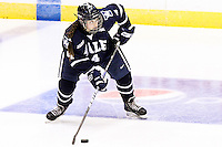 Yale's Tara Tomimoto looks for an open player in the third period. RIT defeated Yale 3-0 at Blue Cross Arena in Rochester, New York on October 20, 2012