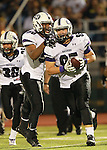 Cedar Ridge defense linemen Cody Sze celebrates a fumble recover in the first half against Stony Point.  (LOURDES M SHOAF for Round Rock Leader.)
