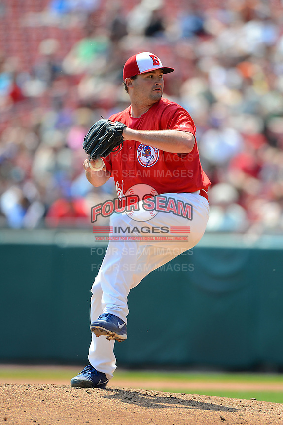 Buffalo Bisons pitcher Chad Beck #60 during a game against the Charlotte Knights on May 19, 2013 at Coca-Cola Field in Buffalo, New York.  Buffalo defeated Charlotte 11-6.  (Mike Janes/Four Seam Images)