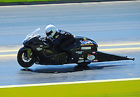 Sept. 25, 2011; Ennis, TX, USA: NHRA pro stock motorcycle rider Jerry Savoie during the Fall Nationals at the Texas Motorplex. Mandatory Credit: Mark J. Rebilas-