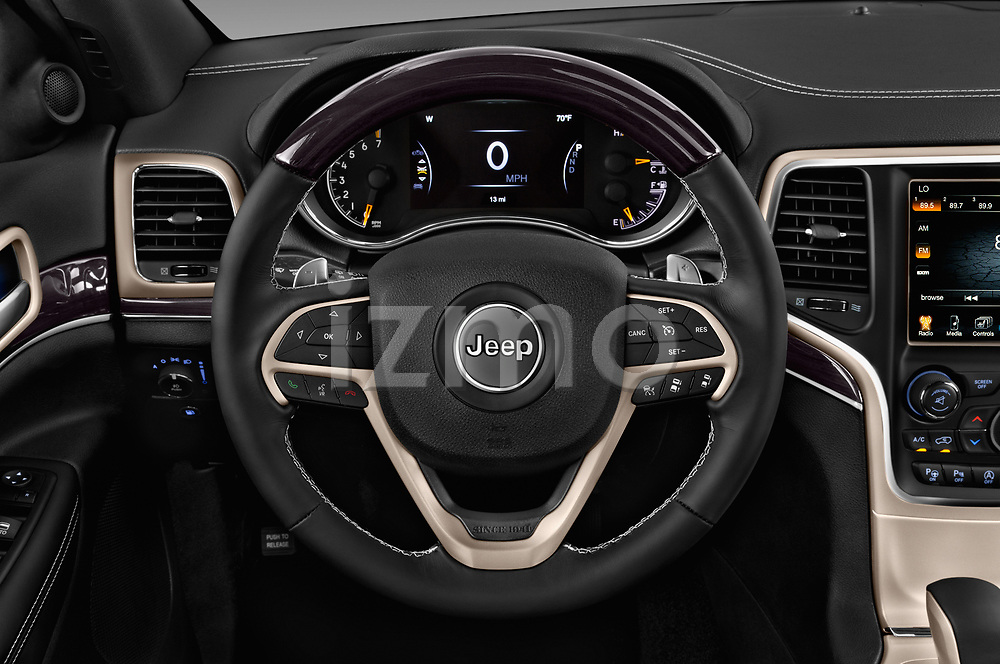 Car pictures of steering wheel view of a 2017 Jeep Grand Cherokee Overland 5 Door SUV
