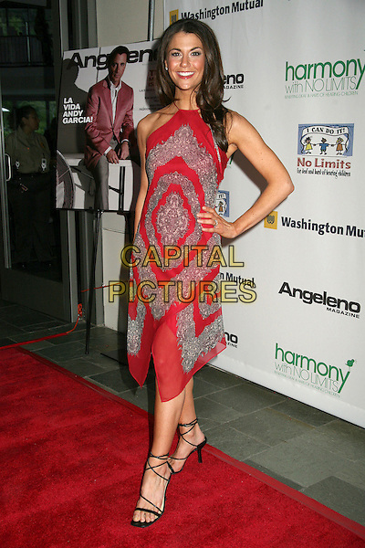"SAMANTHA HARRIS.1st Annual ""Harmony with No Limits"" Gala at the Skirball Cultural Center, Los Angeles, California, USA..April 21st, 2006.Photo: Byron Purvis/AdMedia/Capital Pictures.Ref: BP/ADM.full length red dress pattern hand on hip hlaterneck.www.capitalpictures.com.sales@capitalpictures.com.© Capital Pictures."