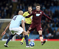 1899 Hoffenheim's Andrej Kramaric under pressure from Manchester City's Vincent Kompany<br /> <br /> Photographer Rich Linley/CameraSport<br /> <br /> UEFA Champions League Group F - Manchester City v TSG 1899 Hoffenheim - Wednesday 12th December 2018 - The Etihad - Manchester<br />  <br /> World Copyright © 2018 CameraSport. All rights reserved. 43 Linden Ave. Countesthorpe. Leicester. England. LE8 5PG - Tel: +44 (0) 116 277 4147 - admin@camerasport.com - www.camerasport.com
