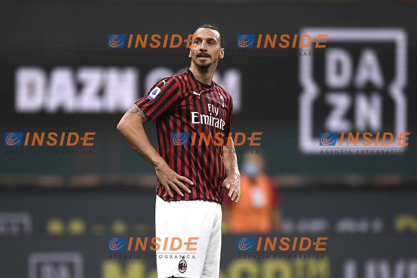 Zlatan Ibrahimovic of AC Milan reacts during the Serie A football match between AC Milan and Bologna FC at stadio Giuseppe Meazza in Milano ( Italy ), July 18th, 2020. Play resumes behind closed doors following the outbreak of the coronavirus disease. <br /> Photo Image Sport / Insidefoto