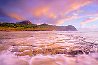 Maha'ulepu Beach, at sunrise, Mount Haupu in background, Kauai, Hawaii, USA, Pacific Ocean