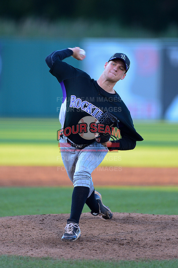 Pitcher Andrew Karp (34) of West Orange High School in Winter Garden, Florida playing for the Colorado Rockies scout team during the East Coast Pro Showcase on August 1, 2013 at NBT Bank Stadium in Syracuse, New York.  (Mike Janes/Four Seam Images)