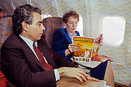 Washington, D.C. - March 2, 1984. Jeane Kirkpatrick and press agent Joel Blocker fly to New York. She (December 19, 1926 - December 7, 2006) was the first female U.S. ambassador to the United Nations, who was renown for her support of anticommunist governments and authoritarian dictatorships.