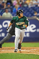 Lynchburg Hillcats shortstop Yu-Cheng Chang (6) runs to first base during a game against the Wilmington Blue Rocks on June 3, 2016 at Judy Johnson Field at Daniel S. Frawley Stadium in Wilmington, Delaware.  Lynchburg defeated Wilmington 16-11 in ten innings.  (Mike Janes/Four Seam Images)