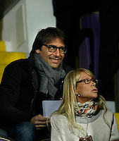 Calcio, Europa League: Andata degli ottavi di finale Fiorentina vs Roma. Firenze, stadio Artemio Franchi, 12 marzo 2015.<br /> Italian national football team's coach Antonio Conte, left, sits on the stand on the occasion of the Europa League round of 16 first leg football match between Fiorentina and Roma at Florence's Artemio Franchi stadium, 12 March 2015.<br /> UPDATE IMAGES PRESS/Isabella Bonotto