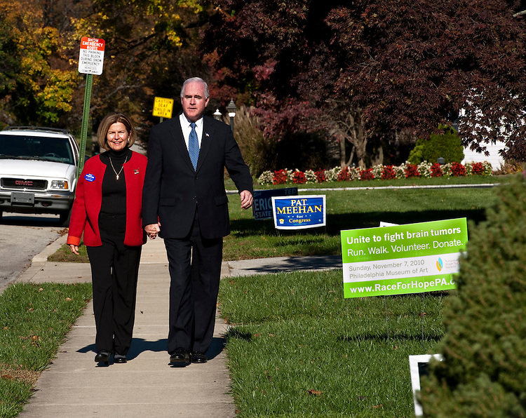 DREXEL HILL, PA - Nov 02: At about 11 a.m., 7th congressional district Republican candidate Pat Meehan walks with wife Carolyn to vote at a polling place in a private garage in his neighborhood. (Photo by Scott J. Ferrell/Congressional Quarterly)
