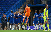 Celebrations after Luke McCORMICK of Chelsea scores his goal to make it 2 0 with even Goalkeeper Marcin BULKA of Chelsea running the length of the pitch to join in during the U23 Premier League 2 match between Chelsea and Derby County at Stamford Bridge, London, England on 18 August 2017. Photo by Andy Rowland.<br /> **EDITORIAL USE ONLY FA Premier League and Football League are subject to DataCo Licence.