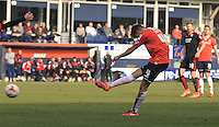 Jonathan Smith of Luton Town fires a shot at goal during the Sky Bet League 2 match between Luton Town and Crawley Town at Kenilworth Road, Luton, England on 12 March 2016. Photo by Liam Smith.
