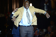 Canton, Ohio - August 6, 2015: Former NFL player Charles Haley dons his gold jacket for the first time during the 2015 Pro Football Hall of Fame enshrinement dinner in Canton, Ohio August 6, 2015. At the time of his induction, Haley is the  only player in NFL history to have played on five winning Super Bowl teams. (Photo by Don Baxter/Media Images International)