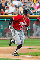 Patrick Brady (10) of the Tacoma Rainiers at bat against the Salt Lake Bees in Pacific Coast League action at Smith's Ballpark on September 1, 2015 in Salt Lake City, Utah. The Bees defeated the Rainiers 10-1.  (Stephen Smith/Four Seam Images)