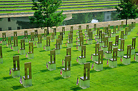 Field of empty chairs and reflection pool at site of bombing, Oklahoma National Memorial, Oklahoma City, Oklahoma, AGPix_0386.