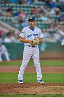 Justin Lewis (33) of the Ogden Raptors gets ready to deliver a pitch during a game against the Billings Mustangs at Lindquist Field on August 18, 2018 in Ogden, Utah. Billings defeated Ogden 6-4. (Stephen Smith/Four Seam Images)