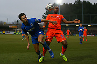 Will Nightingale of AFC Wimbledon and Tom Elliott of Millwall during AFC Wimbledon vs Millwall, Emirates FA Cup Football at the Cherry Red Records Stadium on 16th February 2019