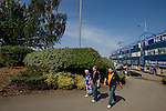 Rival fans walking away from the Spion Kop stand at St. Andrew's stadium, prior to Birmingham City's Barclay's Premier League match with Wolverhampton Wanderers. Both clubs were battling against relegation from  England's top division. The match ended in a 1-1 draw, watched by a crowd of 26,027.