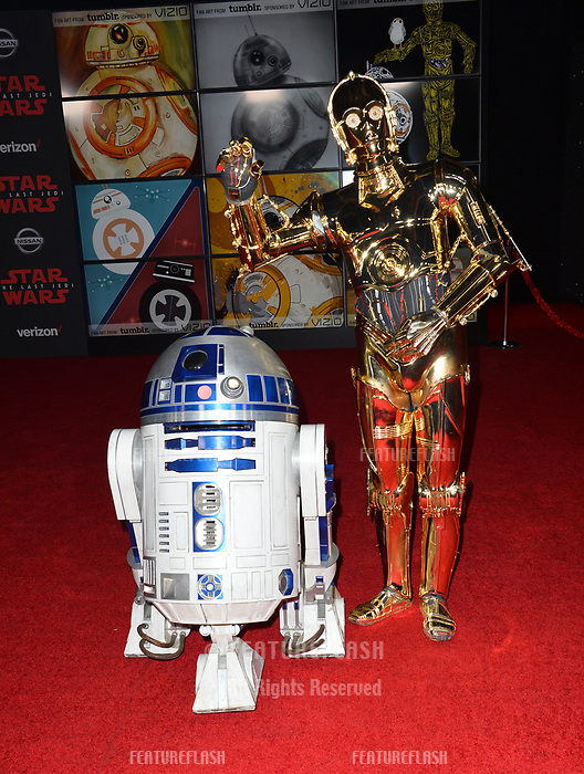 "R2-D2 & C-3PO at the world premiere for ""Star Wars: The Last Jedi"" at the Shrine Auditorium. Los Angeles, USA 09 December  2017<br /> Picture: Paul Smith/Featureflash/SilverHub 0208 004 5359 sales@silverhubmedia.com"
