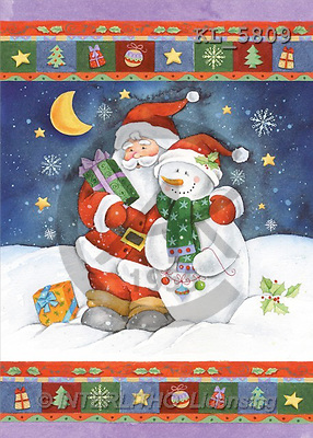 Interlitho, Andrea, CHRISTMAS SANTA, SNOWMAN, paintings, santa, snowman(KL5809,#X#) Weihnachtsmänner, Schneemänner, Weihnachen, Papá Noel, muñecos de nieve, Navidad, illustrations, pinturas
