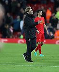 Jurgen Klopp manager of Liverpool celebrates after the English Premier League match at Anfield Stadium, Liverpool. Picture date: December 31st, 2016. Photo credit should read: Lynne Cameron/Sportimage