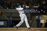 Hillsboro Hops catcher Zachary Jones (40) follows through on his swing during a Northwest League game against the Salem-Keizer Volcanoes at Ron Tonkin Field on September 1, 2018 in Hillsboro, Oregon. The Salem-Keizer Volcanoes defeated the Hillsboro Hops by a score of 3-1. (Zachary Lucy/Four Seam Images)