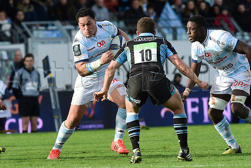 09.01.2016. Paris, France. European Champions Cup Rugby Union. Racing Metro versus Glasgow Warriors.  Chris Masoe (RM92) challenged by Duncan Weir (Glasgow)