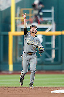 Vanderbilt Commodores shortstop Dansby Swanson (7) points to a pop up during the NCAA College baseball World Series against the TCU Horned Frogs on June 16, 2015 at TD Ameritrade Park in Omaha, Nebraska. Vanderbilt defeated TCU 1-0. (Andrew Woolley/Four Seam Images)