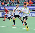The Hague, Netherlands, June 15: Martin Haener #6 of Germany and Jan Philipp Rabente #14 of Germany defend during the match during the field hockey placement match (Men - Place 5th/6th) between Belgium and Germany on June 15, 2014 during the World Cup 2014 at Kyocera Stadium in The Hague, Netherlands. Final score 4-2 (1-1)  (Photo by Dirk Markgraf / www.265-images.com) *** Local caption ***
