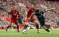 Manchester City's Sergio Aguero tries to turn against Liverpool's Dejan Lovren<br /> <br /> Photographer Rich Linley/CameraSport<br /> <br /> The Premier League - Liverpool v Manchester City - Sunday 7th October 2018 - Anfield - Liverpool<br /> <br /> World Copyright &copy; 2018 CameraSport. All rights reserved. 43 Linden Ave. Countesthorpe. Leicester. England. LE8 5PG - Tel: +44 (0) 116 277 4147 - admin@camerasport.com - www.camerasport.com