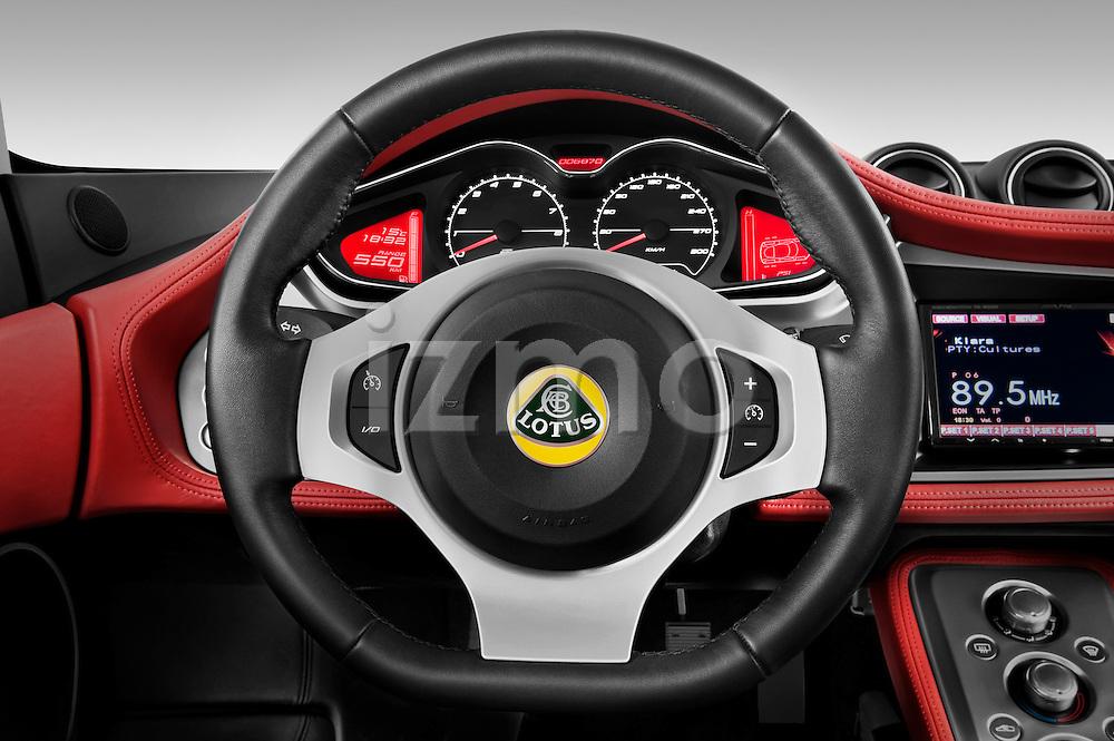 Steering wheel view of a 2009 Lotus Evora 2 Door Coupe