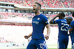 Gary Cahill of Chelsea celebrates Victor Moses of Chelsea scoring the opening goal during the The FA Community Shield match at Wembley Stadium, London. Picture date 6th August 2017. Picture credit should read: Charlie Forgham-Bailey/Sportimage