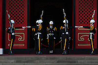 Changing of the guard at the National Revolutionary Martyrs' Shrine in Zhongshan District, Taipei, Taiwan, 2015. The shrine is dedicated to the war dead of the Republic of China.