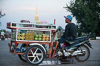 LAO P.D.R., Vientiane, street vendor  / LAOS, Vientiane, Starßenverkäufer