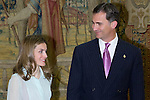 13.06.2012. Prince Felipe of Spain and Princess Letizia of Spain attens Annual Meeting with Members of the Prince of Asturias Foundation at the Royal Palace of El Pardo in Madrid. In the image Princess Letizia and Prince Felipe (Alterphotos/Marta Gonzalez)