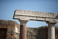 A remaining structure is seen among ruins on Friday, Sept. 18, 2015, in Pompeii, Italy. The city of Pompeii was destroyed when nearby Mount Vesuvius erupted on August 24, AD 79. The town and its residents were buried and forgotten until the ruins were discovered and eventually excavated hundreds of years later. The ruins are one of Italy's top tourist attractions today. (Photo by James Brosher)
