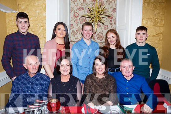 Eileen's Beauty Salon and Acorn Landscaping celebrating at their Christmas party in the Brogue Inn on Saturday night last. Front l-r, Jimmy Slattery, Nodie Slattery, Eileen O'Connor, Johnny O'Connor, Jamie Galvin, Roisin O'Regan, Paudie O'Connor, Emma O'Connor and Morris O'Connor.