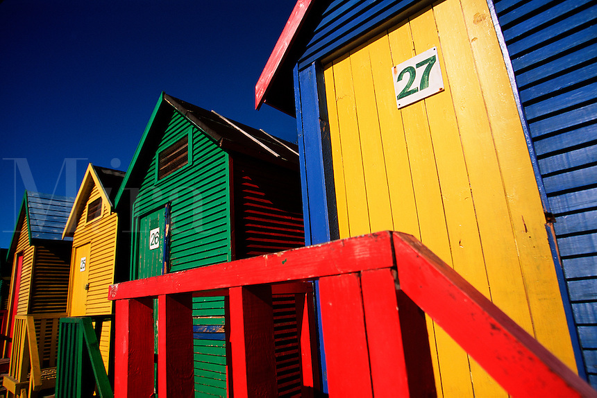 Abstract view of the colorful St. James bathing boxes on False Bay Shore. Cape Peninsula, South Africa.