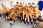 Herbalife Gran Canaria's players Pablo Aguilar, Royce O'Neale, Oriol Pauli, Eulis Baez, Albert Oliver, Xavi Rabaseda and Darko Planinic during the final of Supercopa of Liga Endesa Madrid. September 24, Spain. 2016. (ALTERPHOTOS/BorjaB.Hojas)