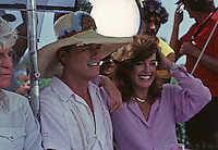 "Larry Hagman and Linda Gray on set of ""Dallas,"" Southfork Ranch, Texas, 1980. Photo by John G. Zimmerman."