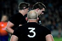 Owen Franks braces for a lineout during the Steinlager Series international rugby match between the New Zealand All Blacks and France at Eden Park in Auckland, New Zealand on Saturday, 9 June 2018. Photo: Dave Lintott / lintottphoto.co.nz