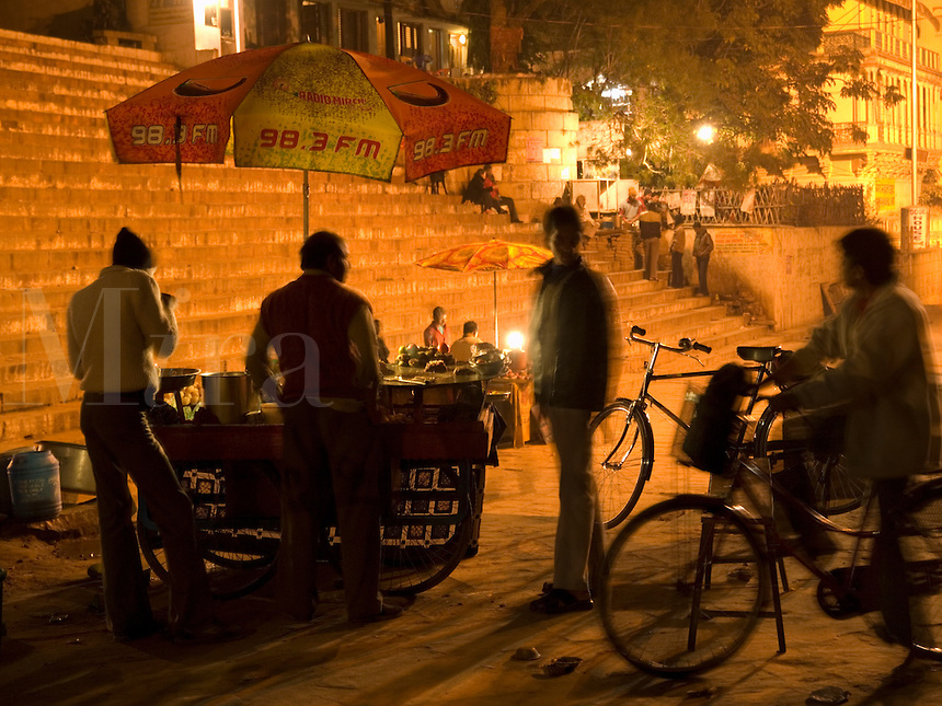 A food vendor at night in Varanasi, Uttar Pradesh, India